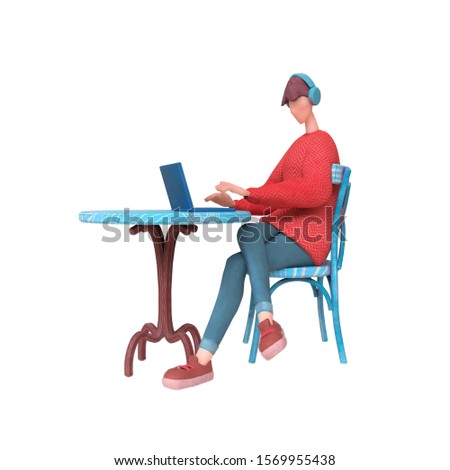 Guy in red sweater sits at an outdoor cafe table chatting at his laptop. Cartoon guy with headphones listening to music surfs the Internet on the computer. 3d illustration isolated on white background
