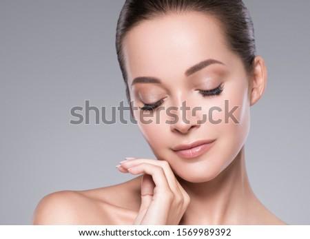 Beauty woman face skin care concept natural makeup #1569989392