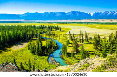 Green mountain river valley landscape. Mountain river valley panorama. River valley in mountains. Mountain valley river view #1570024630