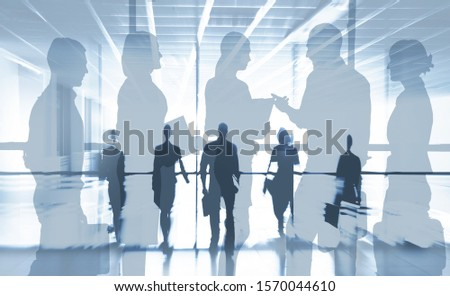 Collage from silhouettes of  group  businesspeople comunications  background business office #1570044610