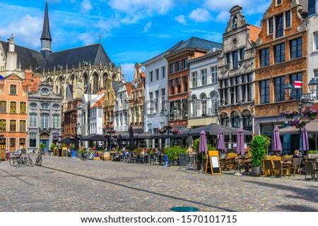 Grote Markt in Mechelen, Belgium. Mechelen is a city and municipality in the province of Antwerp, Flanders, Belgium. Cityscape of Mechelen #1570101715