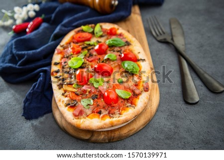 pizza cooked with standard cooked ham and mushrooms #1570139971