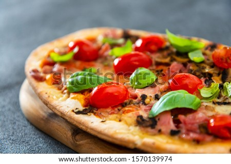 pizza cooked with standard cooked ham and mushrooms #1570139974