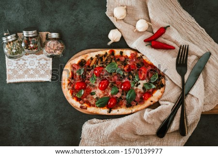 pizza cooked with standard cooked ham and mushrooms #1570139977