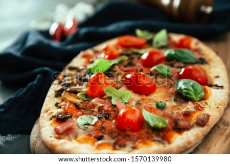 pizza cooked with standard cooked ham and mushrooms #1570139980