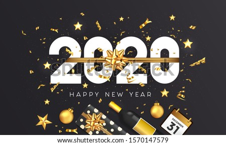 Happy New Year 2020 greeting card. Holiday design decorate with gift box, gold balls, wine bottle and star on dark background. Vector Illustration