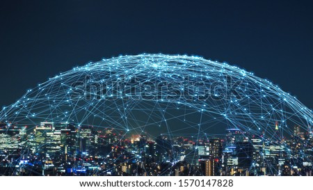 Smart city and communication network concept. 5G. LPWA (Low Power Wide Area). Wireless communication. Royalty-Free Stock Photo #1570147828