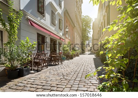 Alley at Spittelberg - Old town, Vienna, Austria #157018646