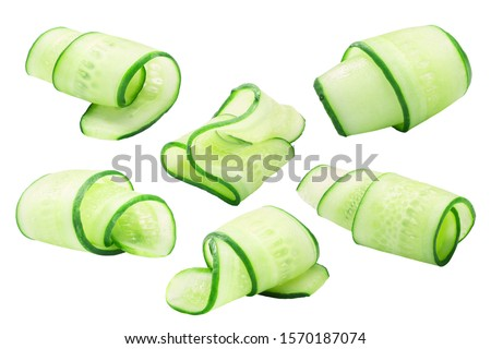 Cucumber curls, rolled up slices or shavings, isolated #1570187074