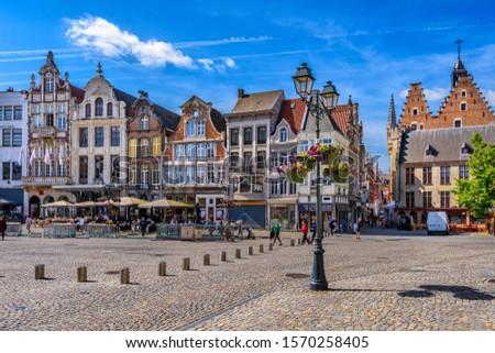 Grote Markt in Mechelen, Belgium. Mechelen is a city and municipality in the province of Antwerp, Flanders, Belgium. Cityscape of Mechelen #1570258405