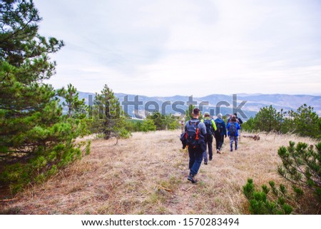 Group of active people with backpack walking through the forest. Hiking. Adventure. Healthy lifestyle. #1570283494
