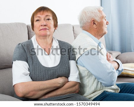 Elderly couple quarreled and offended at each other #1570349494