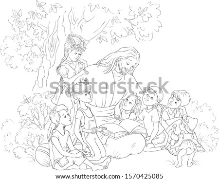 Jesus reading the Bible with Children coloring page. Vector cartoon christian black and white illustration. Also available colored version
