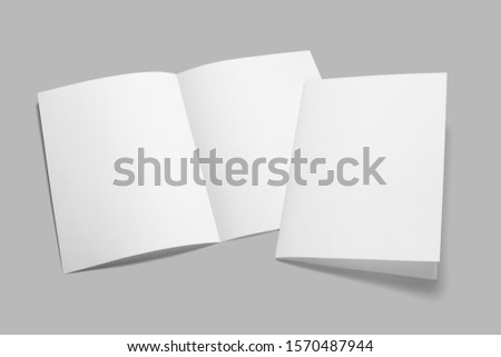 Blank half-folded booklet, postcard, flyer or brochure mockup template on gray background #1570487944