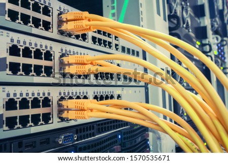 Many yellow utp wires connect to internet switches. Communication equipment is in the server room of the data center. Network Ethernet patch cords are included in the interfaces of routers. #1570535671