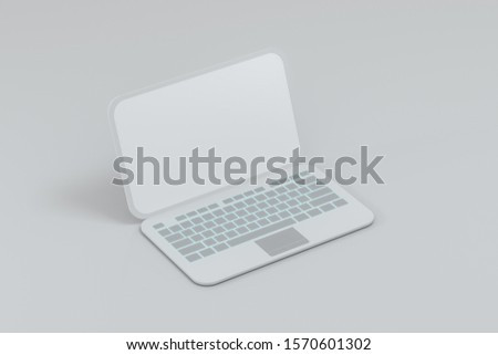 Laptop with white background, technological concept, 3d rendering. Computer digital drawing. #1570601302