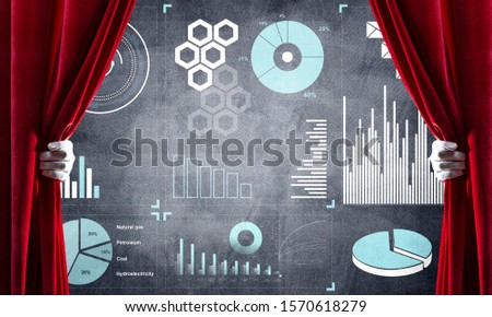 Hand opening red curtain and drawing business graphs and diagrams behind it #1570618279