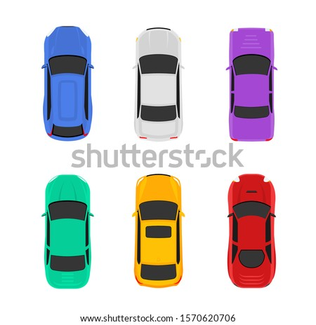 Vector car top view icon illustration. Vehicle flat isolated car icon. Royalty-Free Stock Photo #1570620706