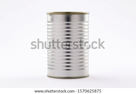 metal tin cans foods fruits Vegetables legumes tuna meat  easy open on white background high and low angle #1570625875