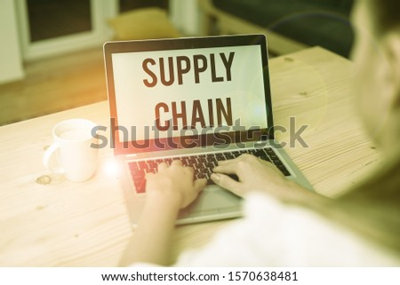 Writing note showing Supply Chain. Business photo showcasing network between a company and suppliers in producing a product woman with laptop smartphone and office supplies technology. #1570638481