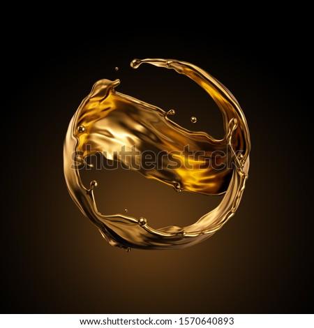 3d rendering, round gold liquid splash, metallic wave, swirl, cosmetic oil, golden splashing clip art, artistic paint, abstract design element isolated on black background. Luxury beauty concept