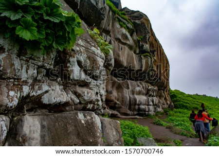 Mountains of Lima Peru, in Pachacamac, Lomas de Lucumo. Green park to walk in town. With cloudy and blue sky #1570700746