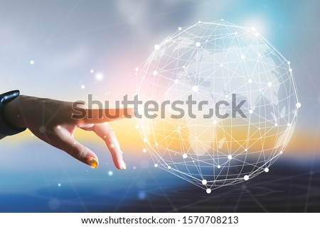 Businesswoman touching in with global connection concept. technology concept #1570708213