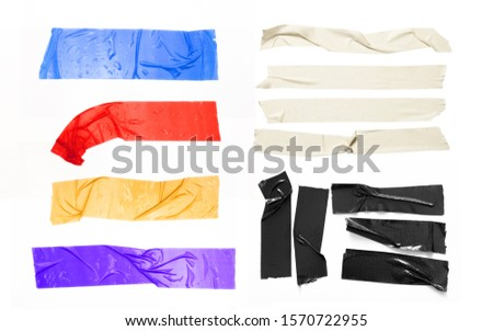 Set of yellow, black, red, purple, white tapes on white background. Torn horizontal and different size sticky tape, adhesive pieces. #1570722955