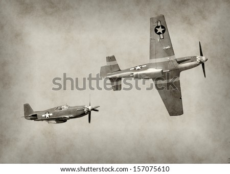 World War II fighter airplanes in flight Royalty-Free Stock Photo #157075610