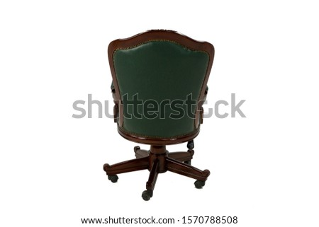 Vintage armchair, parts of the armchair on a white background, transparent background, green, brown #1570788508