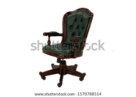 Vintage armchair, parts of the armchair on a white background, transparent background, green, brown #1570788514
