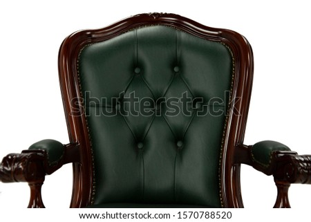 Vintage armchair, parts of the armchair on a white background, transparent background, green, brown #1570788520