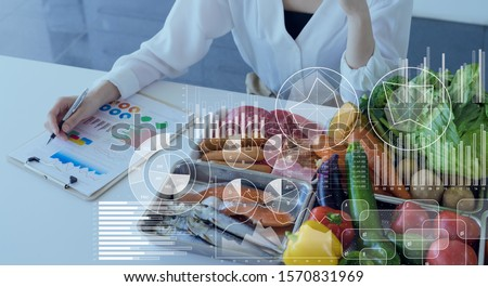 Food and science concept. Dietitian. Nutrition. Royalty-Free Stock Photo #1570831969