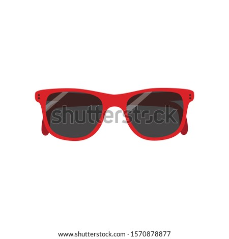 Red Cool Hipster Summer Sunglasses Shades vector icon #1570878877
