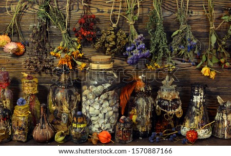 Witch laboratory with potion, elixirs, glass bottles, dry flowers, herbs and ingredients. Esoteric, wicca and occult background, fortune telling and divination ritual, mystic concept  Royalty-Free Stock Photo #1570887166