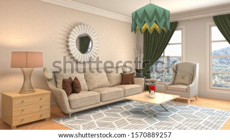 Interior of the living room. 3D illustration. #1570889257