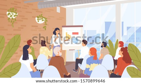 Business seminar, conference vector illustration. Company personnel training, career development course concept. Business coach and lecture listeners, businesspeople cartoon characters. #1570899646