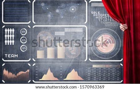 Hand opening red curtain and drawing business graphs and diagrams behind it #1570963369