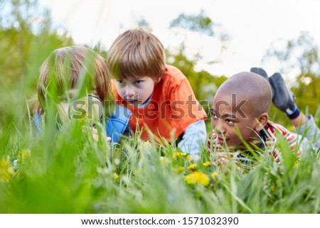 Three children as curious explorers and explorers with a magnifying glass in the grass in the park #1571032390