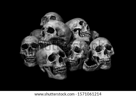 Awesome, pile of skull, on black background, Still Life style, and adjustment color black and white for background