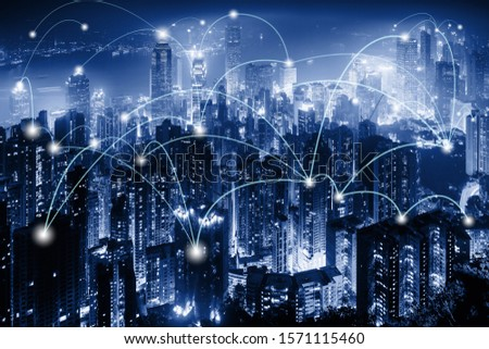 Network Telecommunication and Communication Connect Concept, Connection 5G Networking System of Infrastructure and Cityscape at Night Scenery. Technology Digital Connectivity and Information Transfer #1571115460
