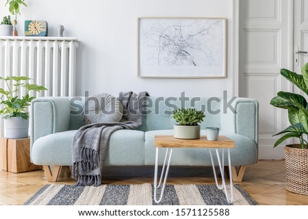 Stylish scandinavian living room interior with design mint sofa, furnitures, mock up poster map, plants, and elegant personal accessories. Home decor. Interior design. Template. Ready to use.  #1571125588