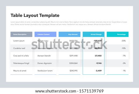 Modern business table layout template. Flat design, easy to use for your website or presentation. Royalty-Free Stock Photo #1571139769