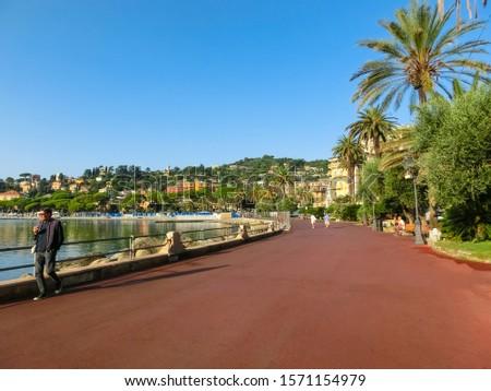 Rapallo, Italy - September 17, 2019: The promenade at Rapallo Italy Liguria #1571154979