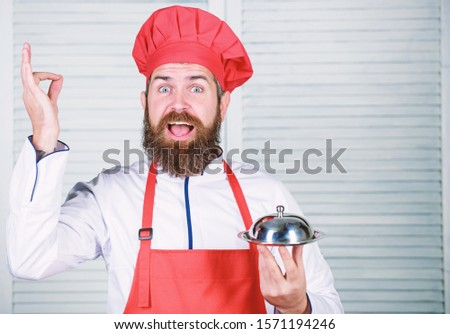 serve food. Cuisine culinary. man holds kitchen dish tray in restaurant. Healthy food cooking. Mature hipster with beard. Dieting organic food. Happy bearded man. chef recipe. Best best best. #1571194246