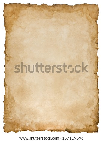 Old paper sheet isolated on white background Royalty-Free Stock Photo #157119596