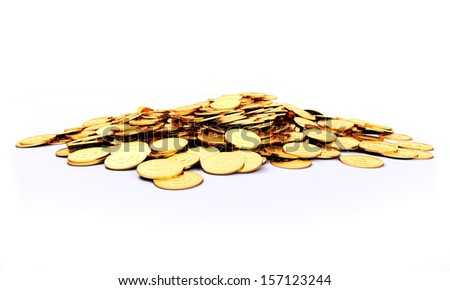 3d rendered illustration of a heap of gold coins #157123244