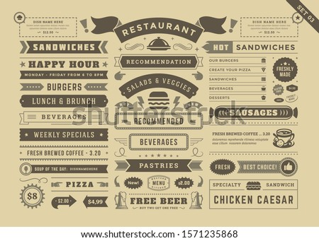 Restaurant menu typographic decoration design elements set vintage and retro style vector illustration. Food signs and symbols, ornate elements with dividers, ribbons and frames old newspaper style.