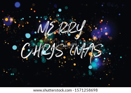 Merry Christmas text design. Vector logo, typography. Usable as banner, greeting card, gift package etc. #1571258698