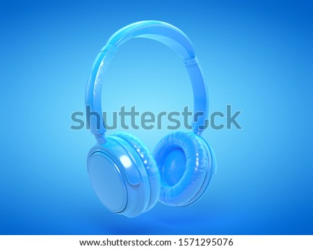 3d rendered illustration of blue headphones #1571295076